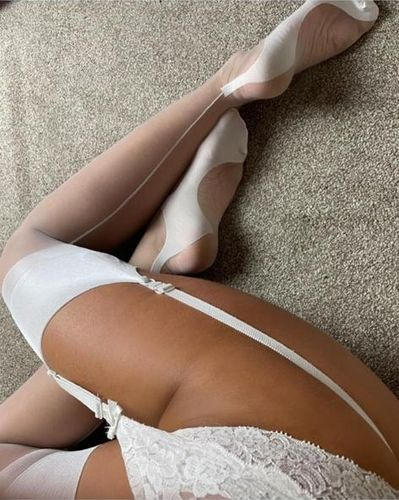 Lindley & Lindley White Silk Seamed Stockings with Cuban Heels and Keyhole Welts
