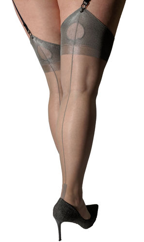 Lindley & Lindley Grey Silk Seamed Stockings with Cuban Heels and Keyhole Welts