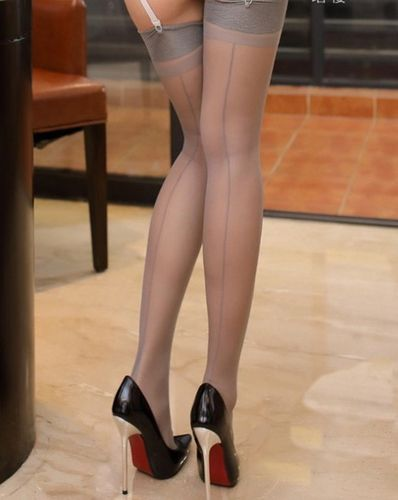 Lindley & Lindley Pure Silk Seamed Stockings with Reinforced Toes in Grey